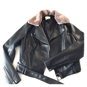 UO faux leather belted jacket with removable fur